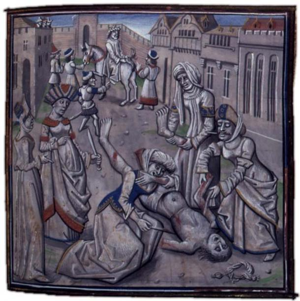 A medieval depiction of the death of Andronikos. Original in the Bibliothèque Nationale, France. (Public Domain)