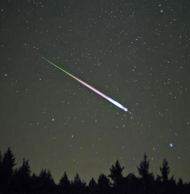 A meteor during the peak of the 2009 Leonid Meteor Shower.