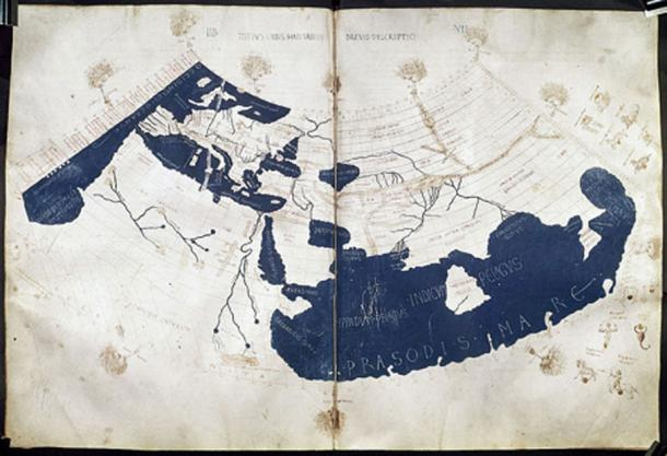 A mid-15th century Florentine map of the world based on Jacobus Angelus's 1406 Latin translation of Maximus Planudes's late-13th century rediscovered Greek manuscripts of Ptolemy's 2nd-century 'Geography'. Ptolemy's 1st (modified conic) projection. (Public Domain)