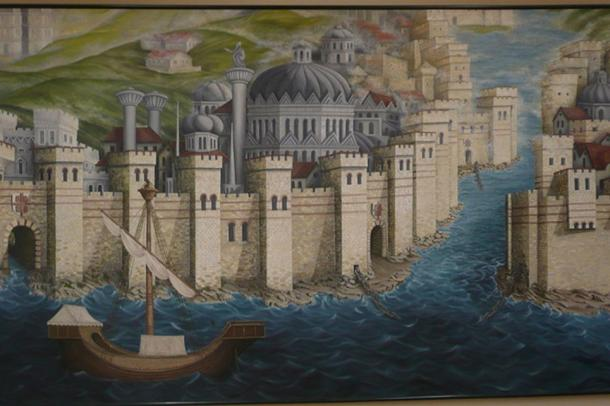 A mural of the walls and boom or chain across the mouth of the harbor, all a part of Constantinople's formidable defense. In the end, the Ottomans overcame them all. (CC BY SA 3.0)