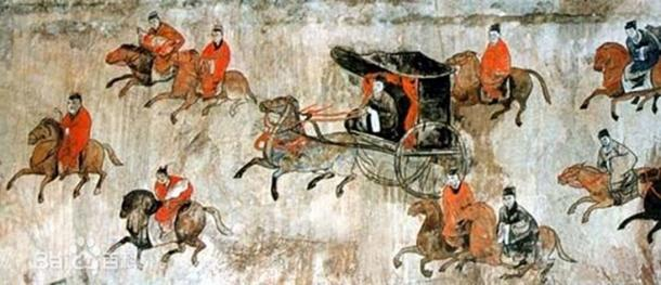 A mural showing chariots and cavalry, from the Dahuting Tomb of the late Eastern Han Dynasty (25–220 AD), located in Zhengzhou, Henan province, China