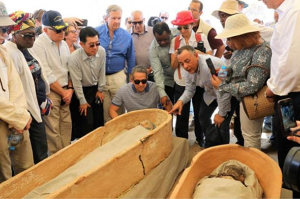 A number of sarcophagi have recently been unearthed in Dahshur. (Ministry of Antiquities)