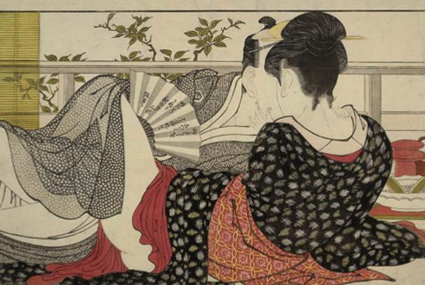 A page from the erotic shun-ga book Utamakura. Source: Curly Turkey / Public Domain.