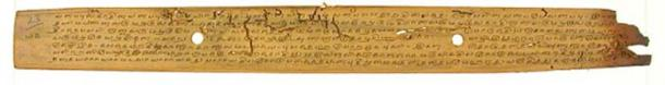 A page of a palm leaf manuscript held at the U.V. Swaminatha Iyer Libary in Chennai, Tamil Nadu, India. It contains the Ciṟupañcamūlam, a work of late-classical Tamil literature. (CC BY SA 3.0)