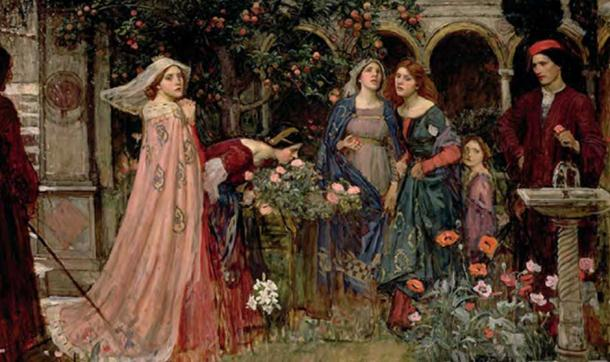 A painting by William Waterhouse, Enchanted garden