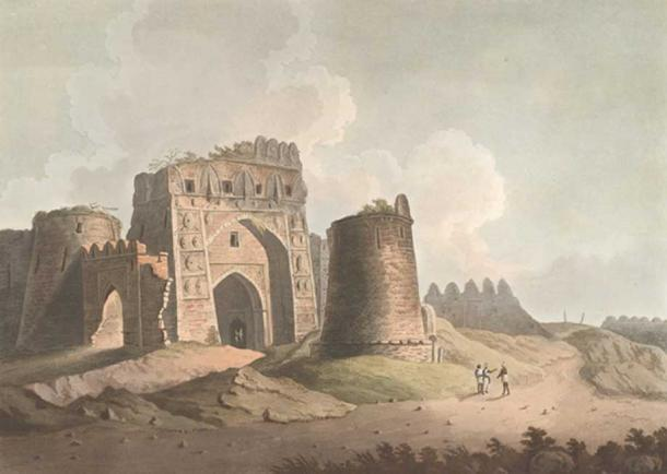 A painting of west gate of Firozabad fort, near Delhi. This fort was built by Feroz Shah Tughlaq in the 1350s but destroyed by later dynasties. (Public Domain)