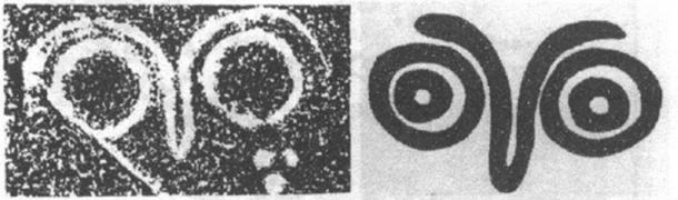 Left: A petroglyph in Lianyungang, China, as shown in Song's 1998 paper. Right: A petroglyph in British Columbia, Canada.