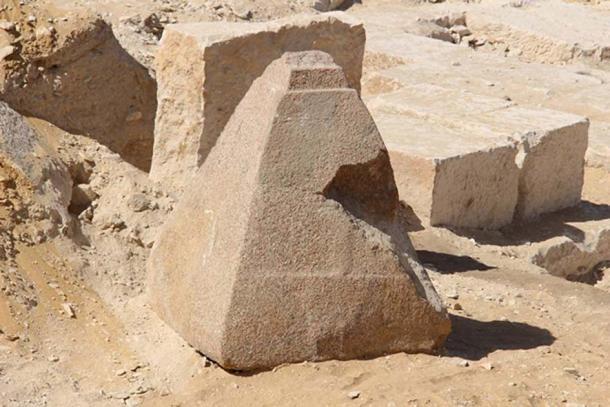 A pyramidion of granite uncovered to the south of Saqqara necropolis in Egypt. (Egypt's Ministry of Antiquities)
