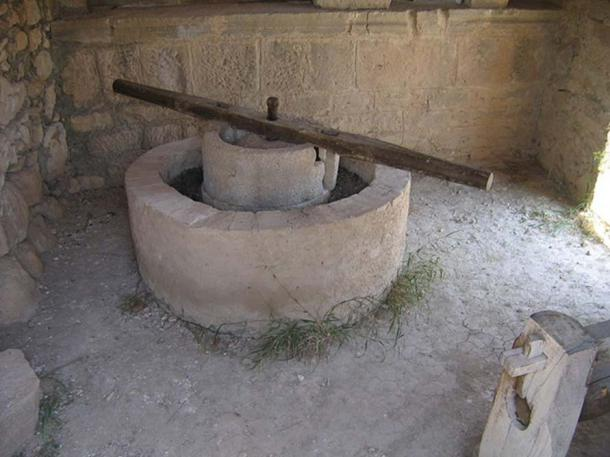 A reconstructed Roman olive press in Volubilis.