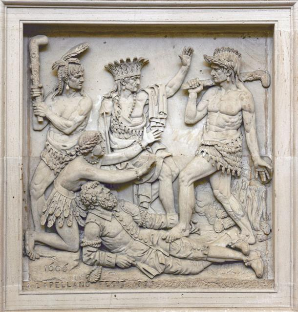 A relief above the west door of the U.S. Capitol rontunda depicting the legend of Pocahontas saving John Smith's life. Some say the story is spurious. (Public Domain)