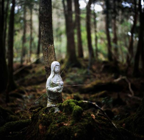 A religious figure bound to a tree in Aokigahara, where someone ended their live. Credit: Rob Gilhooly