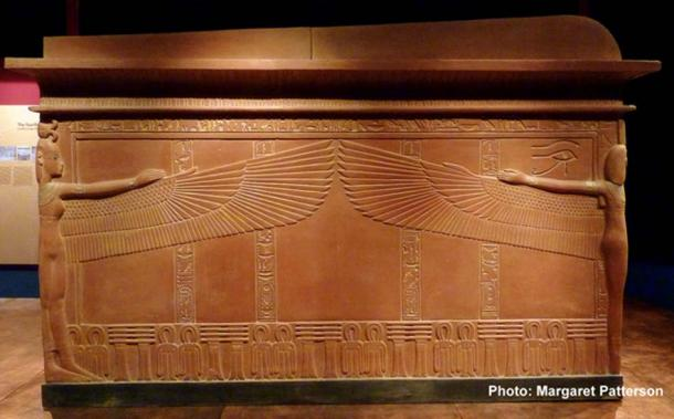 "A replica shows the north side of the sarcophagus found in the tomb of Tutankhamun with the tutelary goddesses protecting the contents within. ""Tutankhamun: His Tomb and His Treasures"" exhibition at the Museum of Museums, Manchester."