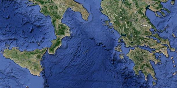 A satellite image of the Ionian Sea.