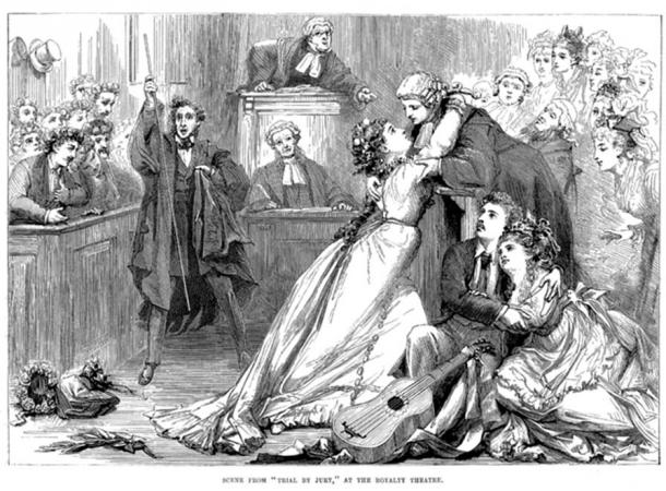 A scene from Trial by Jury as illustrated in the magazine Illustrated Sporting and Dramatic News of 1 May 1875. (Public Domain)