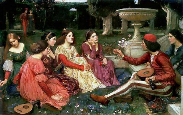 A scene of the Decameron of Boccaccio.