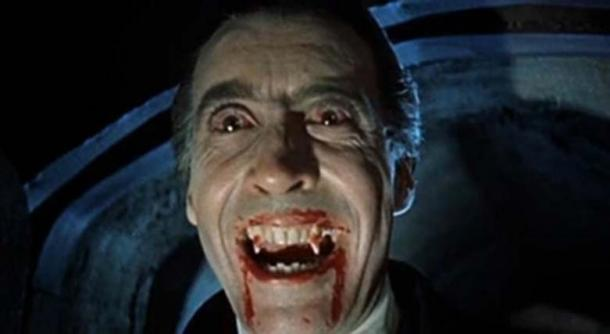 A screenshot from the trailer for Dracula (1958), an Hammer Horror production. (Public Domain)