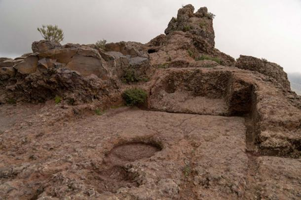 A section near the top of Roque Bentayga that had been carved out by the Guanches. Credit: Ioannis Syrigos