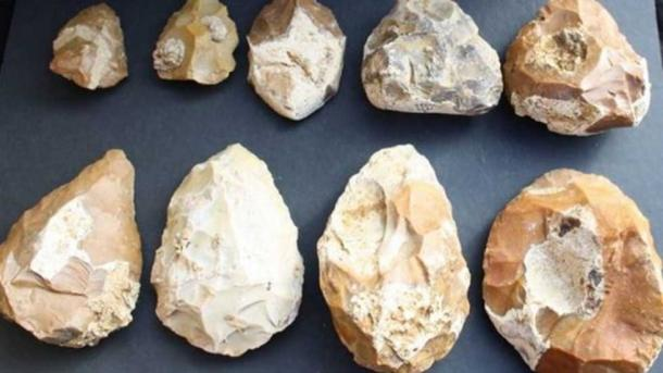 A selection of the various styles of hand axes that have been found. (Tel Aviv University)