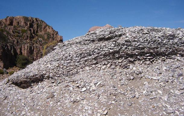 A shell midden in a mound formation, Argentina.