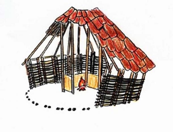 A sketch of a timber Adena house.