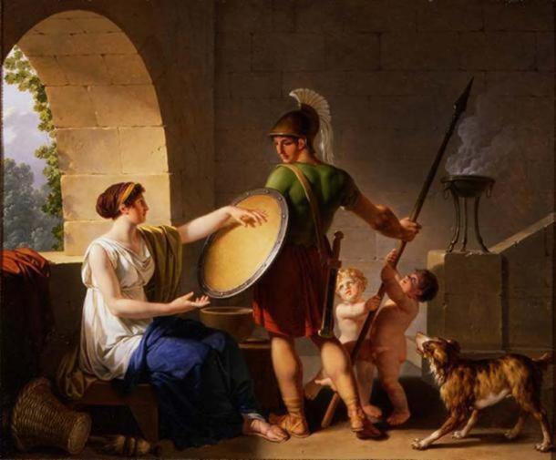 'A spartan woman giving a shield to her son' (1826) by Jean-Jacques-François Le Barbier. (Public Domain)