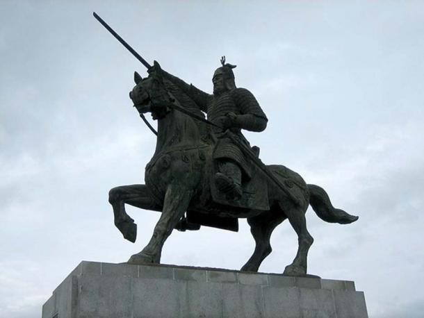 A statue of General Kim Yusin at Hwangseong Park in Gyeongju, North Gyeongsang province, South Korea