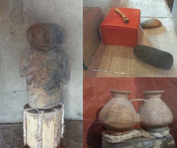 A statue, llama bone flute, stone tools, and one of the many ceramics found at Cochasquí. (Alicia McDermott)