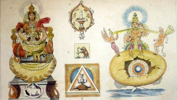 A steel engraving from the 1850s, which depicts the creative activities of Prajapati, a Vedic deity who presides over procreation and protection of life. (Public Domain)