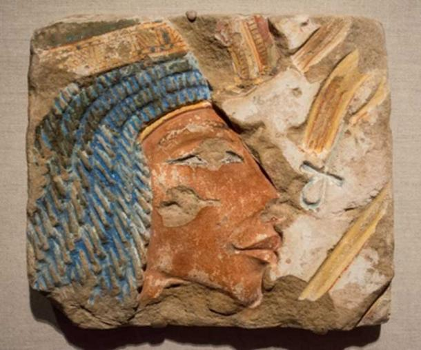 A talatat of Queen Nefertiti, found in East Karnak, Thebes. Pharaoh Exhibit, Cleveland Museum of Art.