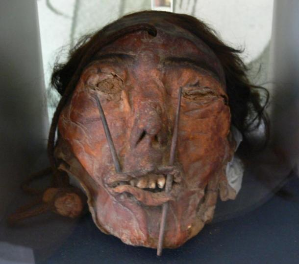 A trophy head of the Nazca culture