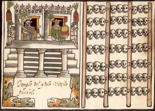 A tzompantli is illustrated to the right of a depiction of an Aztec temple.