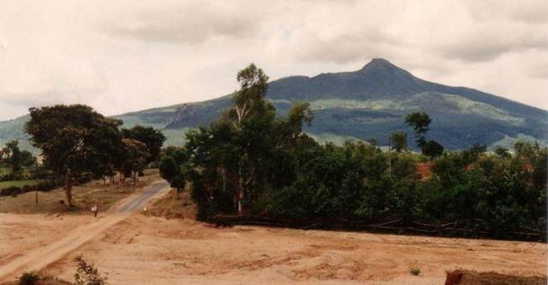 A view of Mount Popa from a distance