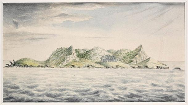 A view of Pitcairn's Island, South Seas, 1814, J. Shillibeer, State Library of New South Wales. (Public Domain)