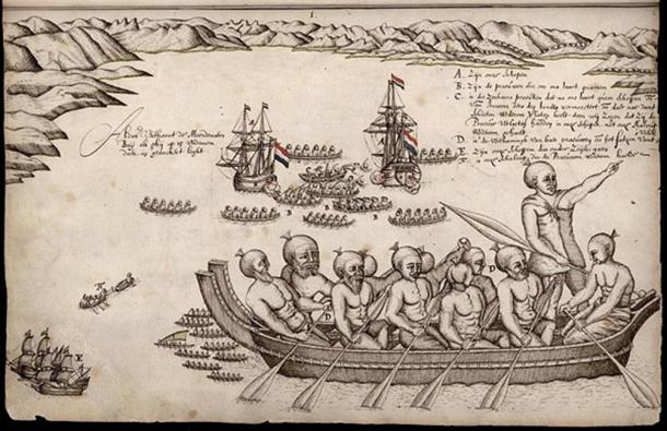 """A view of the Murderers' Bay, as you are at anchor here in 15 fathom"", a drawing made by Abel Tasman's artist on the occasion of a skirmish between the Dutch explorers and Māori people at what is now called Golden Bay, New Zealand. This is the first European impression of Māori people. (Public Domain)"