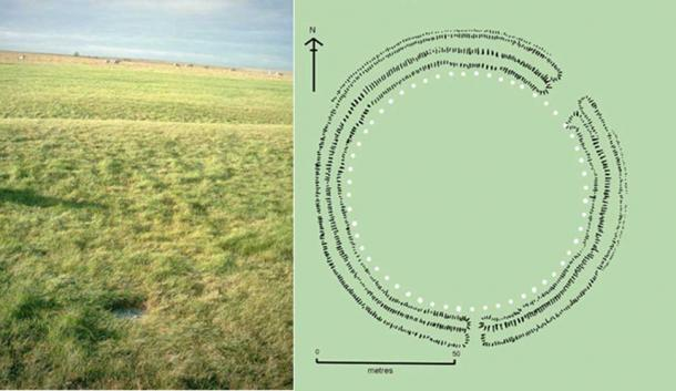 Left, A white disc marks the location of Aubrey hole near the southern entrance to Stonehenge. (Public Domain) Right, Plan of Stonehenge 1 with the Aubrey holes shown as white circles. (CC BY-SA 3.0)