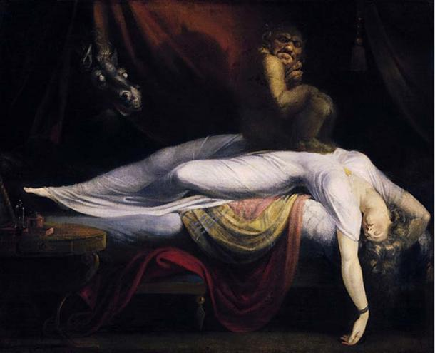 A woman is being 'ridden' by the evil spirit nightmare. (Public Domain)