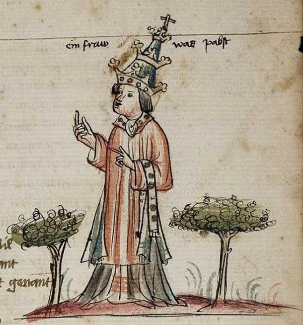 """A woman was Pope"" Image of Pope Johanna (Joan) depicted in Weltchronik by Jans Enenkel, 1420. (Public Domain)"
