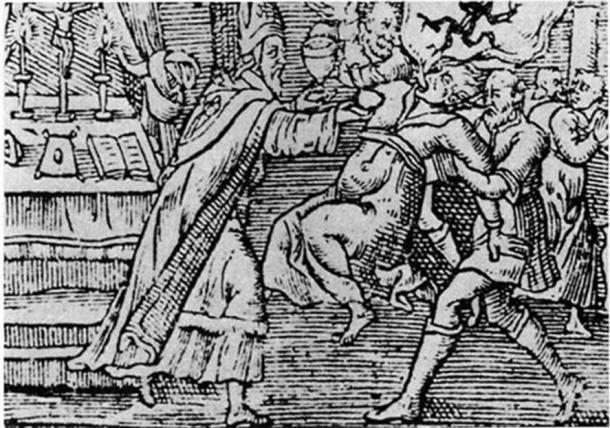 A woodcut from 1598 shows an exorcism performed on a woman by a priest and his assistant, with a demon emerging from her mouth. ( Public Domain )