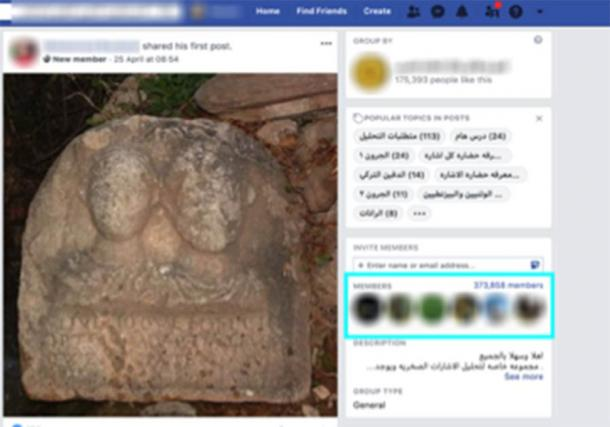 The ATHAR Project is monitoring more than 120 Facebook black market groups trafficking in ancient, and often illegal, artifacts. In the image a user in Oran, Algeria, posts an image of a Roman relief in a Facebook group for antiquities which has more than 373,000 members. (ATHAR Project).