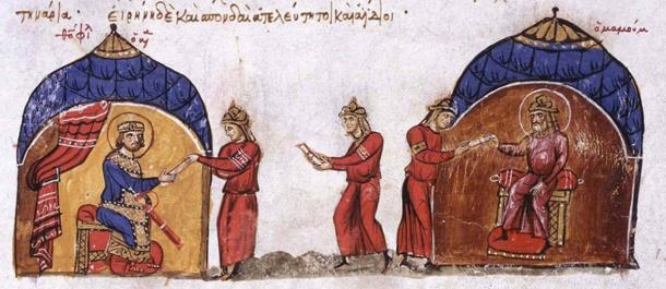 Abbasid Caliph sends an envoy to the Byzatine Emperor Theophilos. (Public domain)
