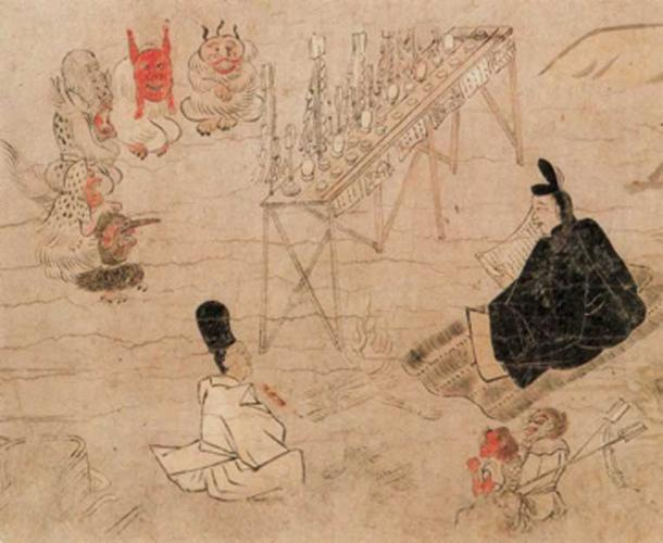 Abe no Seimei and his shikigami before an assembly of god-like demon spirits. (Tobosha / Public Domain)