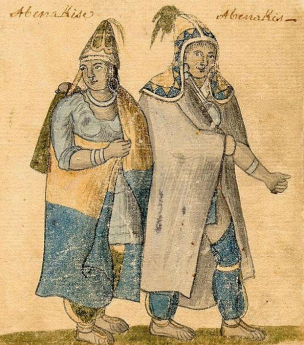 Abenaki couple wearing traditional dress. 18th-century watercolor.