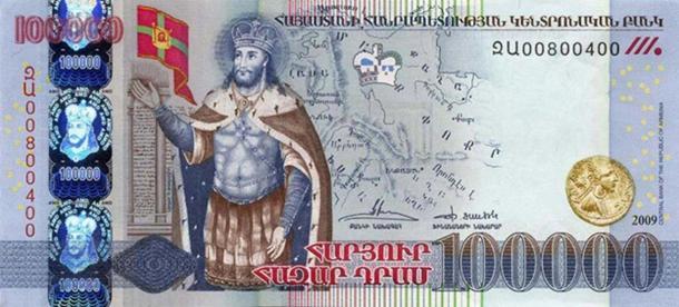 Abgar V on a modern Armenian 100,000 Dram banknote