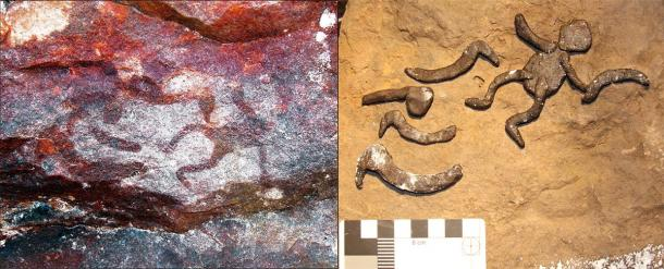 Left: Some of the Aboriginal rock art found at the Yilbilinji site in Limmen National Park. Right: The archaeologists attempting to replicate the anthropomorph and boomerang motif panel. (L.M. Brady / Antiquity Publications Ltd)