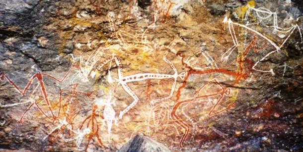 Aboriginal rock painting of Mimi spirits in the Anbangbang gallery at Nourlangie Rock.
