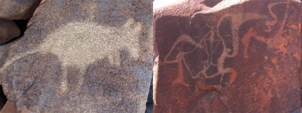 Aboriginal art in the region (Burrup rock art). (Left; Jussarian / CC BY-SA 2.0 Right; Tradimus / CC0)