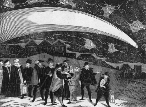 About a terrible and marvelous comet as appeared the Tuesday after St. Martin's Day (1577-11-12) on heaven. (Written by Peter Codicillus of Tulechova) A depiction of the Great Comet of 1577 over Prague. In addition to the comet, five zodiac symbols appear in the sky: (L-R) Aries, Pisces, Aquarius, Capricorn, and Sagittarius. Below the comet's tail are the crescent moon and Saturn, depicted as a star with the astronomical symbol ♄. At the bottom center, a man draws the comet by the light of a lantern. (Public Domain)