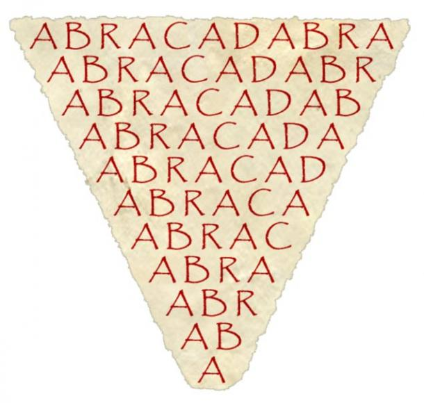 The first known mention of the word abracadabra was in the third century AD in a book called Liber Medicinalis. The word, when written upside down and worn on the body, was thought to have restorative powers.