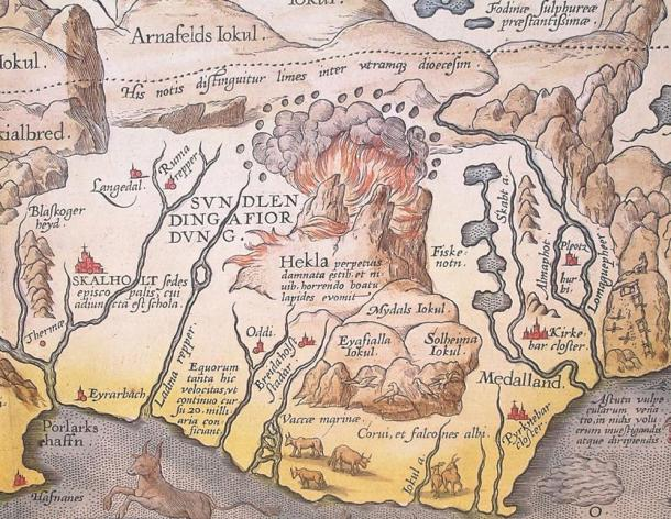 """Detail of Abraham Ortelius' 1585 map of Iceland showing Hekla in eruption. The Latin text translates as """"The Hekla, perpetually condemned to storms and snow, vomits stones under terrible noise""""."""