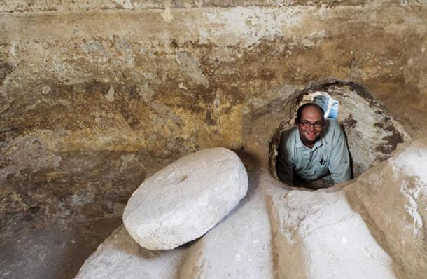 Abraham Tendler, the excavation director, inside a hiding refuge that was connected to a ritual bath (miqwe) during the Bar Kokhba uprising.